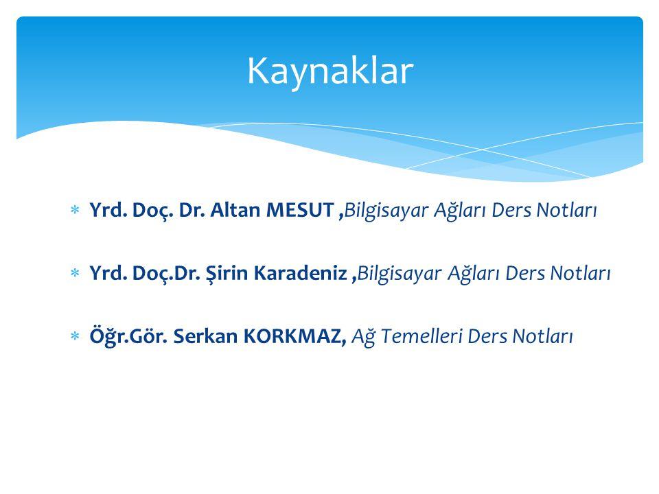  Yrd. Doç. Dr. Altan MESUT,Bilgisayar Ağları Ders Notları  Yrd. Doç.Dr. Şirin Karadeniz,Bilgisayar Ağları Ders Notları  Öğr.Gör. Serkan KORKMAZ, Ağ