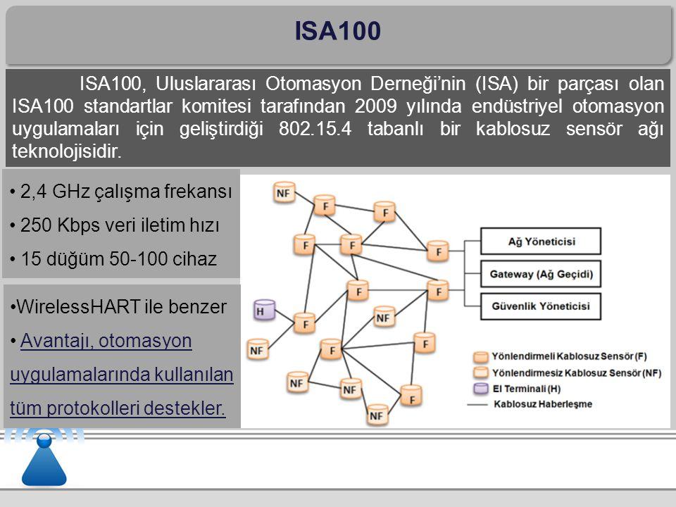 ISA100 ISA100, Uluslararası Otomasyon Derneği'nin (ISA) bir parçası olan ISA100 standartlar komitesi tarafından 2009 yılında endüstriyel otomasyon uygulamaları için geliştirdiği 802.15.4 tabanlı bir kablosuz sensör ağı teknolojisidir.