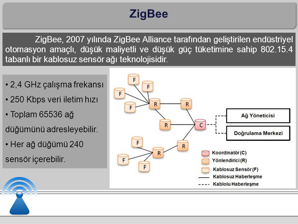 ZigBee ZigBee, 2007 yılında ZigBee Alliance tarafından geliştirilen endüstriyel otomasyon amaçlı, düşük maliyetli ve düşük güç tüketimine sahip 802.15.4 tabanlı bir kablosuz sensör ağı teknolojisidir.