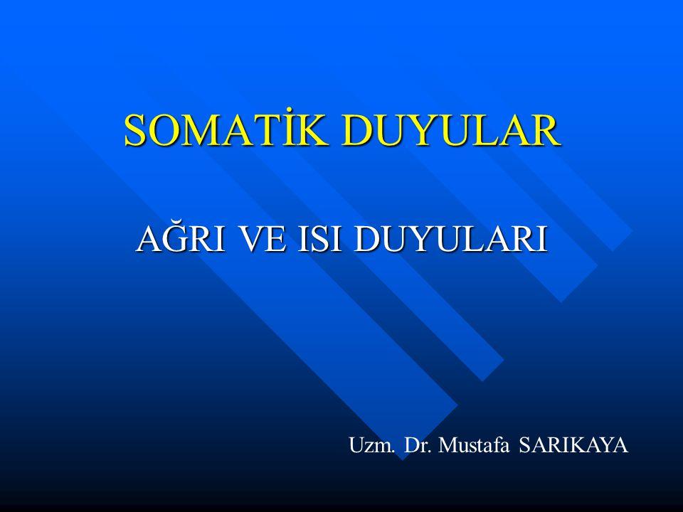 SOMATİK DUYULAR AĞRI VE ISI DUYULARI Uzm. Dr. Mustafa SARIKAYA
