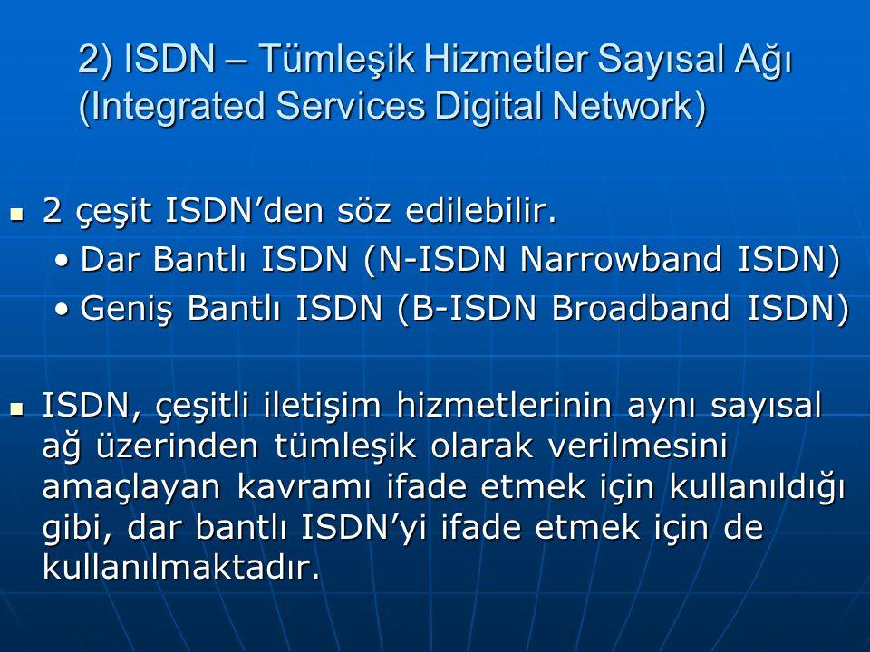 2 çeşit ISDN'den söz edilebilir.2 çeşit ISDN'den söz edilebilir.