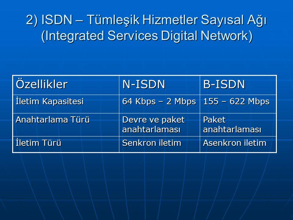 ÖzelliklerN-ISDNB-ISDN İletim Kapasitesi 64 Kbps – 2 Mbps 155 – 622 Mbps Anahtarlama Türü Devre ve paket anahtarlaması Paket anahtarlaması İletim Türü Senkron iletim Asenkron iletim