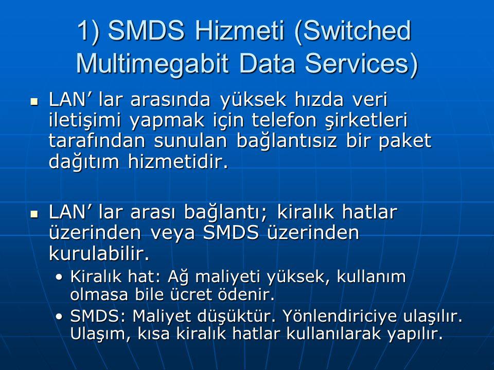 1) SMDS Hizmeti (Switched Multimegabit Data Services) LAN' lar arasında yüksek hızda veri iletişimi yapmak için telefon şirketleri tarafından sunulan bağlantısız bir paket dağıtım hizmetidir.