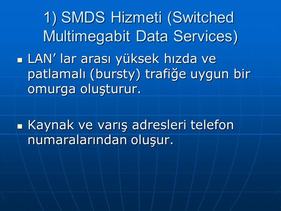 1) SMDS Hizmeti (Switched Multimegabit Data Services) LAN' lar arası yüksek hızda ve patlamalı (bursty) trafiğe uygun bir omurga oluşturur.