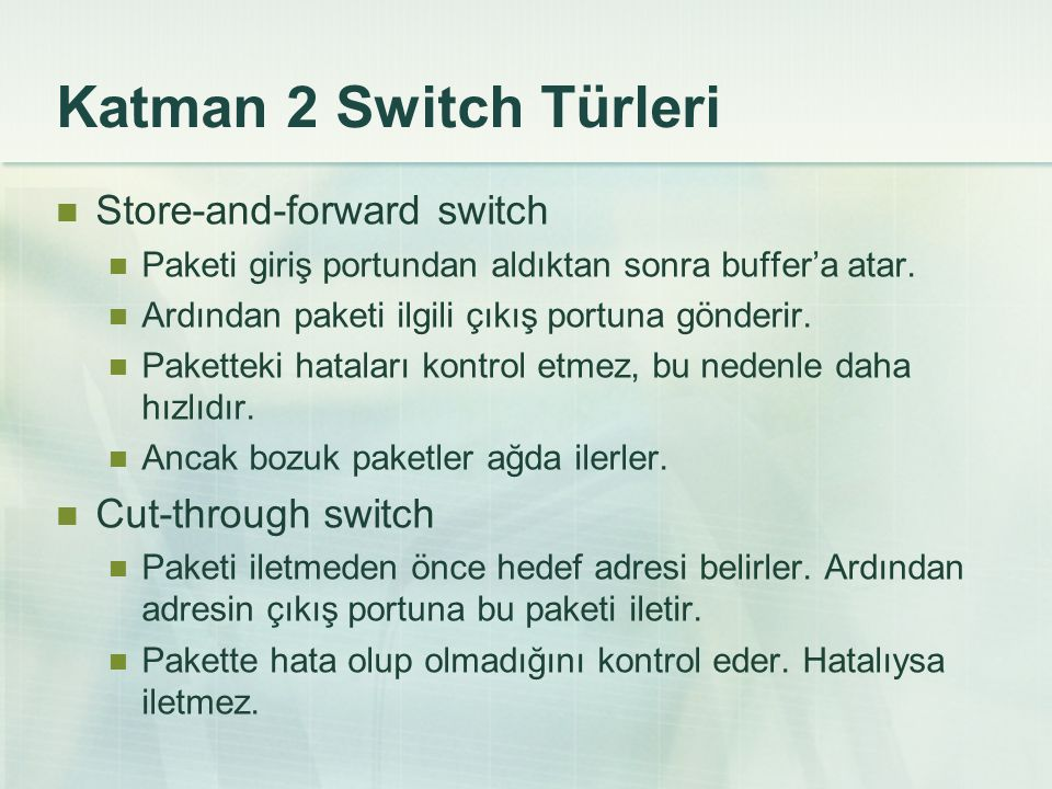 Katman 2 Switch Türleri Store-and-forward switch Paketi giriş portundan aldıktan sonra buffer'a atar.