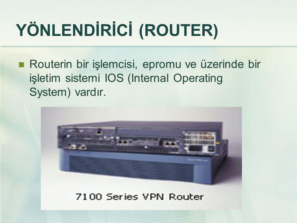 YÖNLENDİRİCİ (ROUTER) Routerin bir işlemcisi, epromu ve üzerinde bir işletim sistemi IOS (Internal Operating System) vardır.