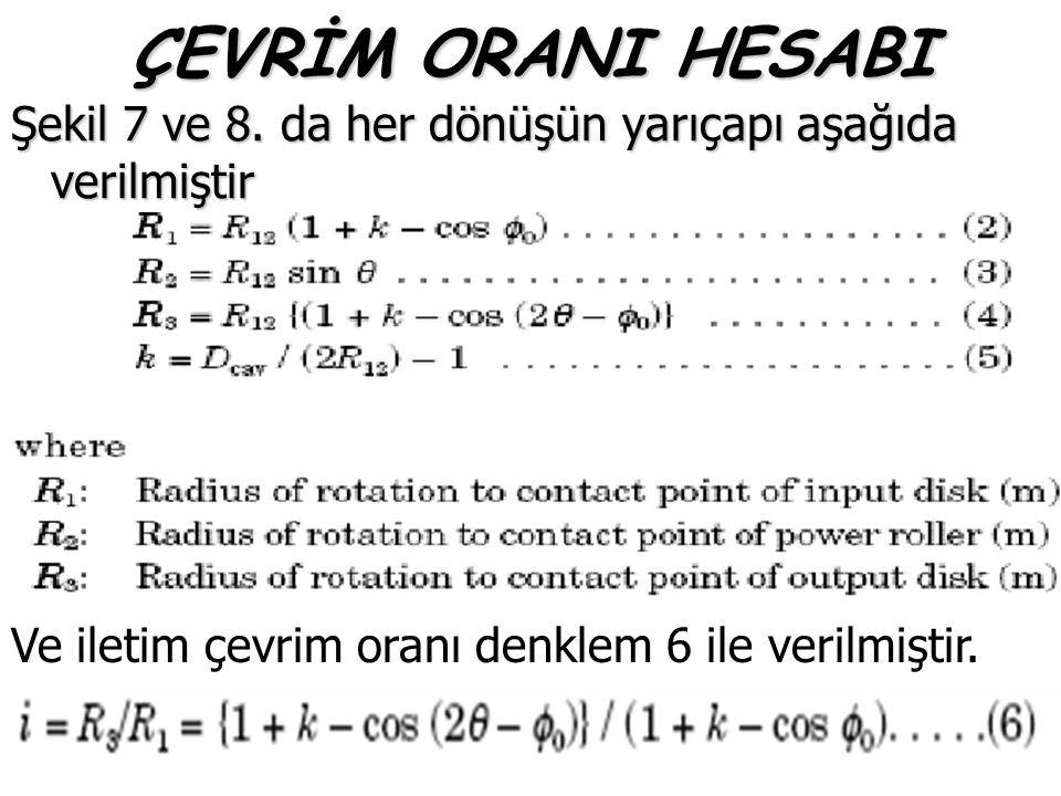 ÇEVRİM ORANI HESABI Şekil 7 ve 8. da her dönüşün yarıçapı aşağıda verilmiştir Ve iletim çevrim oranı denklem 6 ile verilmiştir.