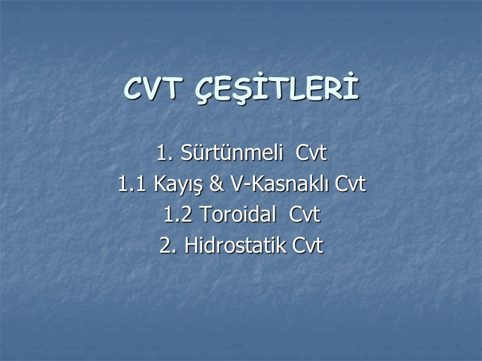 1.SÜRTÜNMELİ CVT 1.1 Kayış & V-Kasnak Cvt Çeşitli kasnaklı CVT ler 3 e ayrılır; 1-Lastik Kayışlı CVT 2-Zincir Kayışlı CVT 3-Çekme Kayışlı CVT Zincir kayışlı CVT'ler endüstride en fazla kullanılan CVT türüdür.
