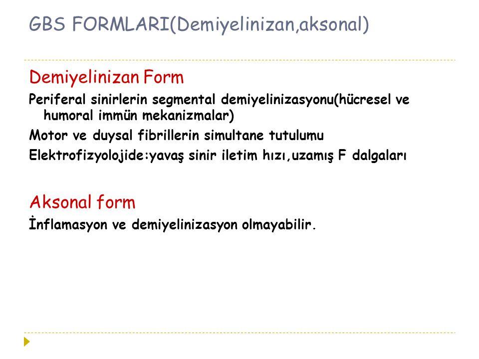 GBS FORMLARI(Demiyelinizan,aksonal) Demiyelinizan Form Periferal sinirlerin segmental demiyelinizasyonu(hücresel ve humoral immün mekanizmalar) Motor