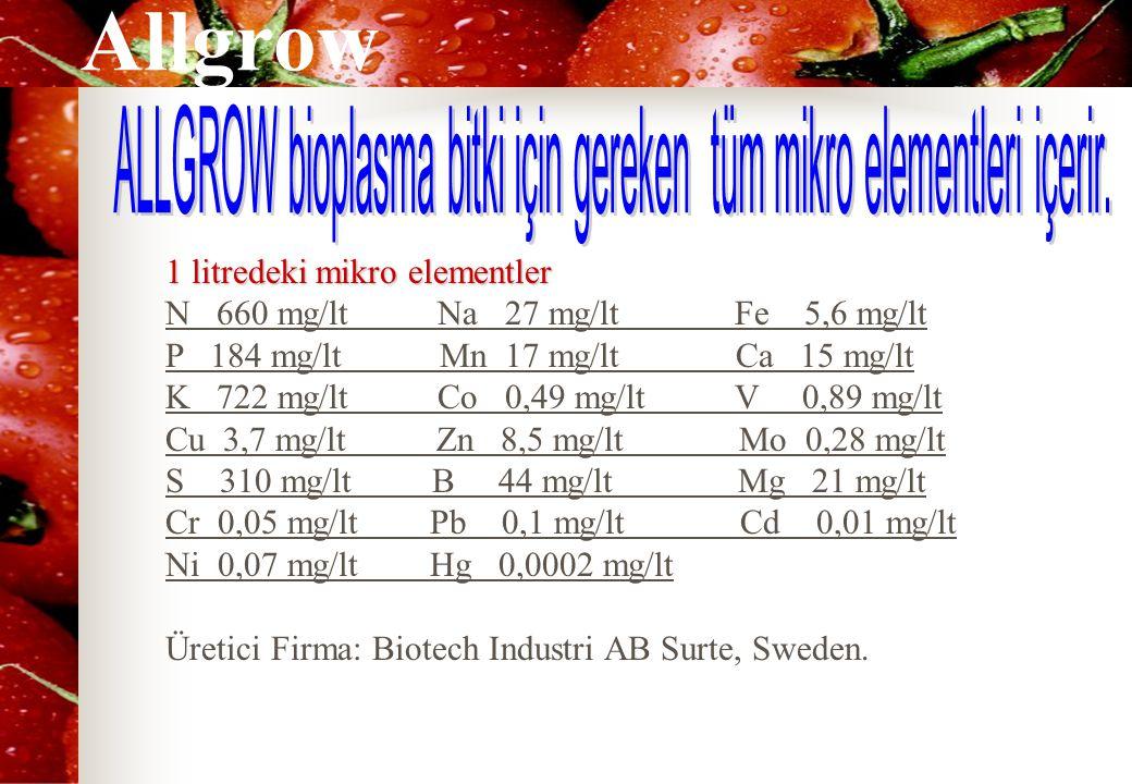Allgrow 1 litredeki mikro elementler N 660 mg/lt Na 27 mg/lt Fe 5,6 mg/lt P 184 mg/lt Mn 17 mg/lt Ca 15 mg/lt K 722 mg/lt Co 0,49 mg/lt V 0,89 mg/lt Cu 3,7 mg/lt Zn 8,5 mg/lt Mo 0,28 mg/lt S 310 mg/lt B 44 mg/lt Mg 21 mg/lt Cr 0,05 mg/lt Pb 0,1 mg/lt Cd 0,01 mg/lt Ni 0,07 mg/lt Hg 0,0002 mg/lt Üretici Firma: Biotech Industri AB Surte, Sweden.