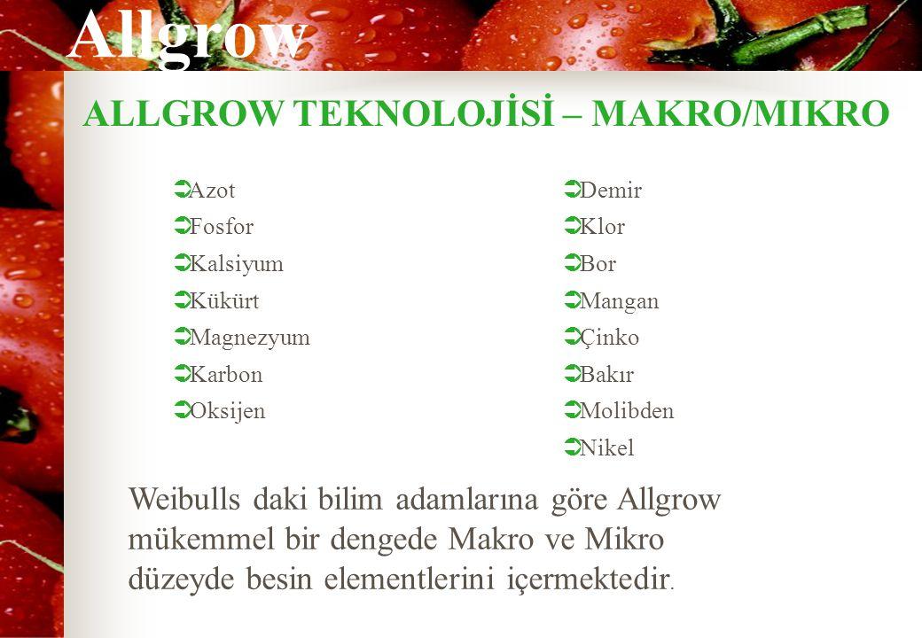 Allgrow ALLGROW TEKNOLOJİSİ – MAKRO/MIKRO  Azot  Fosfor  Kalsiyum  Kükürt  Magnezyum  Karbon  Oksijen  Demir  Klor  Bor  Mangan  Çinko  Bakır  Molibden  Nikel Weibulls daki bilim adamlarına göre Allgrow mükemmel bir dengede Makro ve Mikro düzeyde besin elementlerini içermektedir.