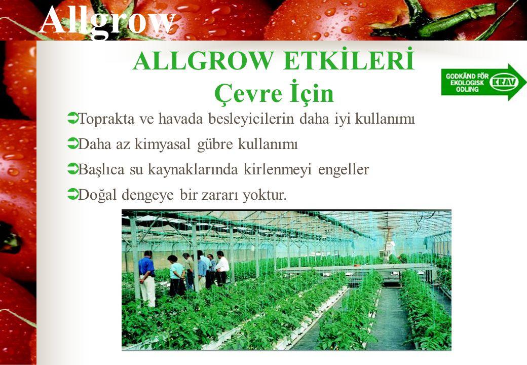Allgrow ALLGROW ETKİLERİ Çevre İçin  Toprakta ve havada besleyicilerin daha iyi kullanımı  Daha az kimyasal gübre kullanımı  Başlıca su kaynaklarında kirlenmeyi engeller  Doğal dengeye bir zararı yoktur.
