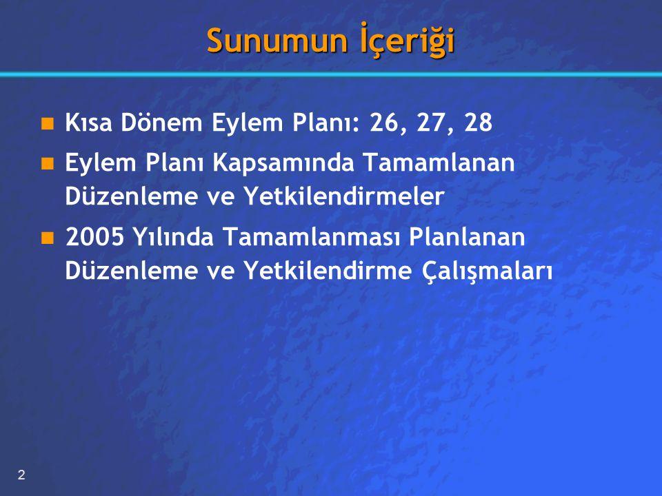 2 Sunumun İçeriği Kısa Dönem Eylem Planı: 26, 27, 28 Eylem Planı Kapsamında Tamamlanan Düzenleme ve Yetkilendirmeler 2005 Yılında Tamamlanması Planlanan Düzenleme ve Yetkilendirme Çalışmaları