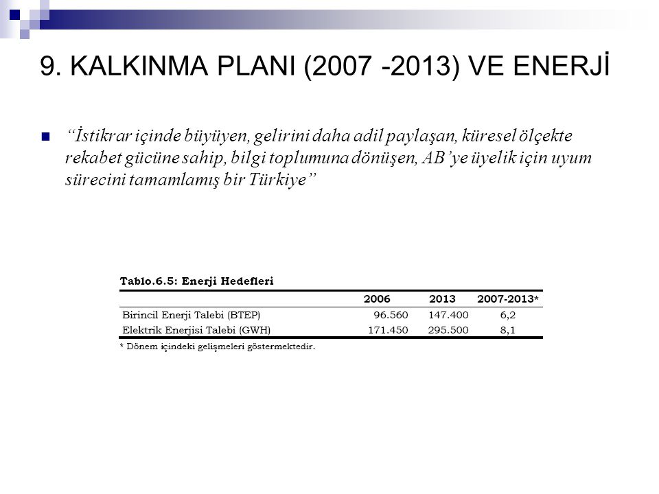 """9. KALKINMA PLANI (2007 -2013) VE ENERJİ """"İstikrar içinde büyüyen, gelirini daha adil paylaşan, küresel ölçekte rekabet gücüne sahip, bilgi toplumuna"""