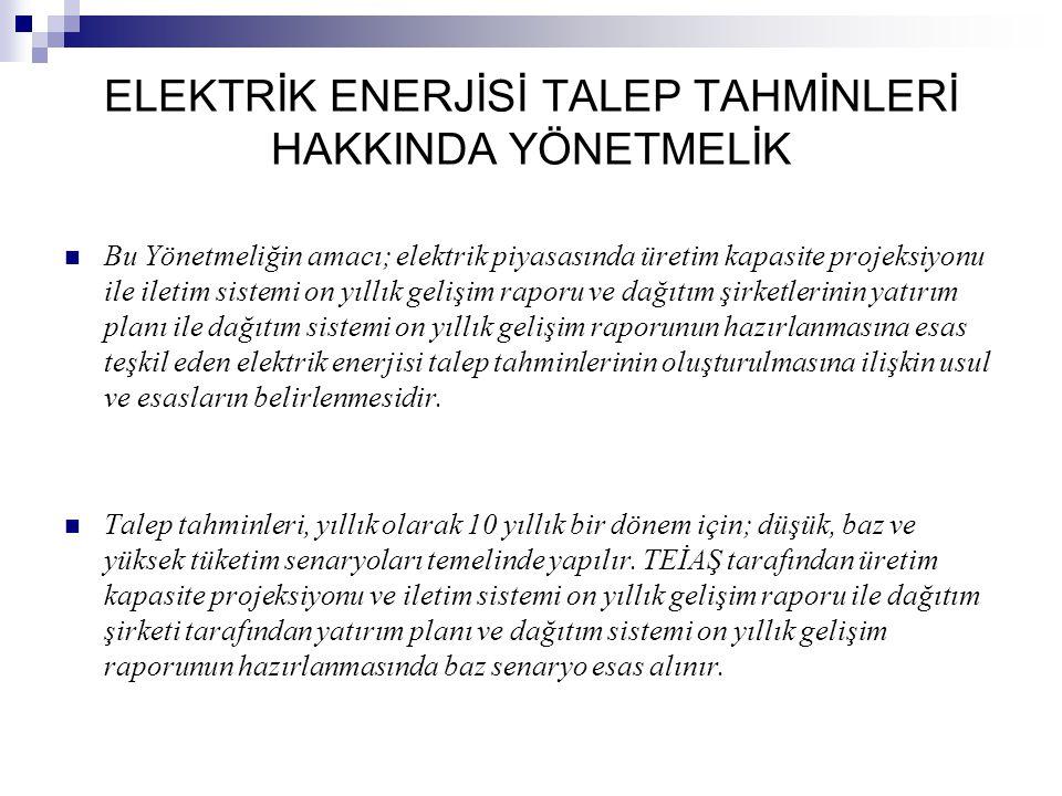 ELEKTRİK ENERJİSİ TALEP TAHMİNLERİ HAKKINDA YÖNETMELİK Bu Yönetmeliğin amacı; elektrik piyasasında üretim kapasite projeksiyonu ile iletim sistemi on