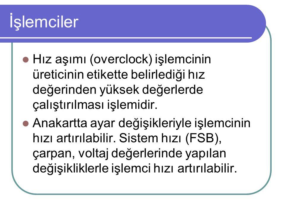 İşlemciler Hız aşımı (overclock) işlemcinin üreticinin etikette belirlediği hız değerinden yüksek değerlerde çalıştırılması işlemidir.