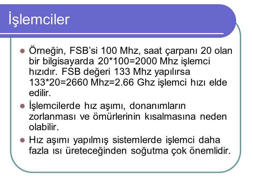 İşlemciler Örneğin, FSB'si 100 Mhz, saat çarpanı 20 olan bir bilgisayarda 20*100=2000 Mhz işlemci hızıdır.