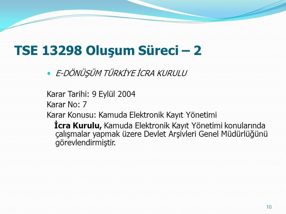 TSE 13298 Oluşum Süreci – 2 E-DÖNÜŞÜM TÜRKİYE İCRA KURULU Karar Tarihi: 9 Eylül 2004 Karar No: 7 Karar Konusu: Kamuda Elektronik Kayıt Yönetimi İcra K