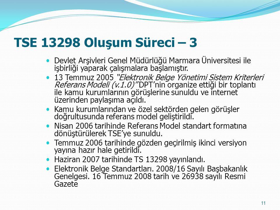 """TSE 13298 Oluşum Süreci – 3 Devlet Arşivleri Genel Müdürlüğü Marmara Üniversitesi ile işbirliği yaparak çalışmalara başlamıştır. 13 Temmuz 2005 """"Elekt"""