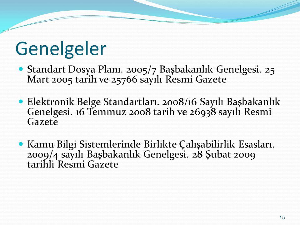 Genelgeler Standart Dosya Planı. 2005/7 Başbakanlık Genelgesi. 25 Mart 2005 tarih ve 25766 sayılı Resmi Gazete Elektronik Belge Standartları. 2008/16