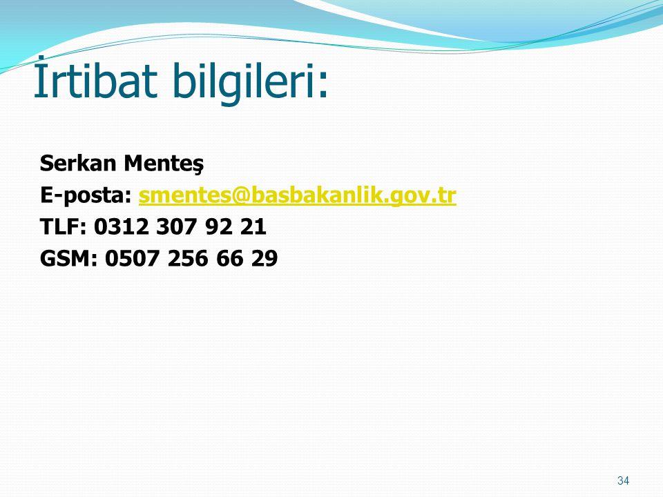 İrtibat bilgileri: Serkan Menteş E-posta: smentes@basbakanlik.gov.trsmentes@basbakanlik.gov.tr TLF: 0312 307 92 21 GSM: 0507 256 66 29 34
