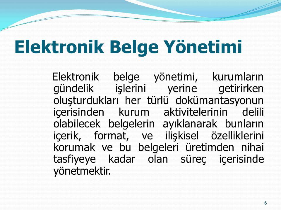 Elektronik Belge Yönetimi Elektronik belge yönetimi, kurumların gündelik işlerini yerine getirirken oluşturdukları her türlü dokümantasyonun içerisind