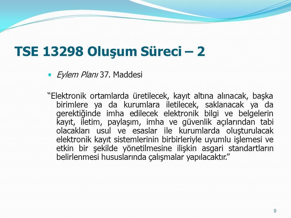 """TSE 13298 Oluşum Süreci – 2 Eylem Planı 37. Maddesi """"Elektronik ortamlarda üretilecek, kayıt altına alınacak, başka birimlere ya da kurumlara iletilec"""