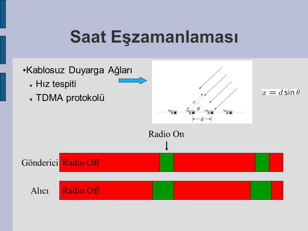 Saat Eşzamanlaması Kablosuz Duyarga Ağları Hız tespiti TDMA protokolü Radio Off Gönderici Radio Off Alıcı Radio On