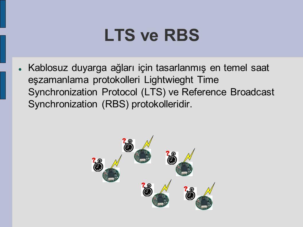 LTS ve RBS Kablosuz duyarga ağları için tasarlanmış en temel saat eşzamanlama protokolleri Lightwieght Time Synchronization Protocol (LTS) ve Reference Broadcast Synchronization (RBS) protokolleridir.