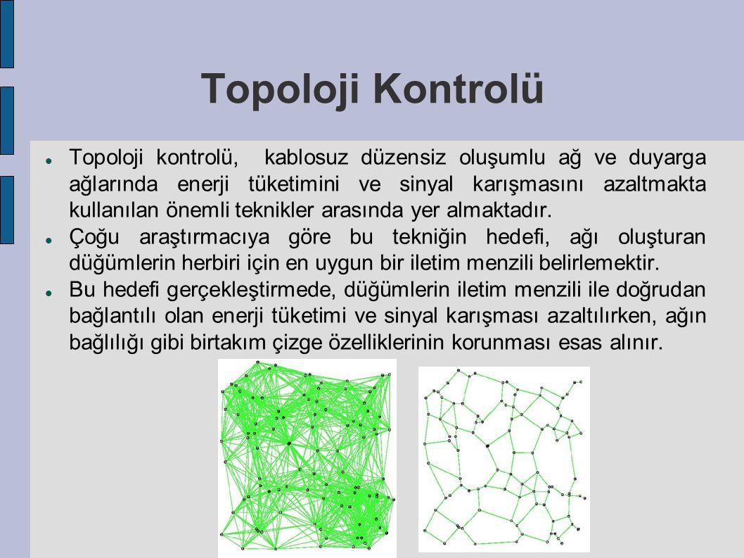 Topoloji Kontrolü Topoloji kontrolü, kablosuz düzensiz oluşumlu ağ ve duyarga ağlarında enerji tüketimini ve sinyal karışmasını azaltmakta kullanılan önemli teknikler arasında yer almaktadır.