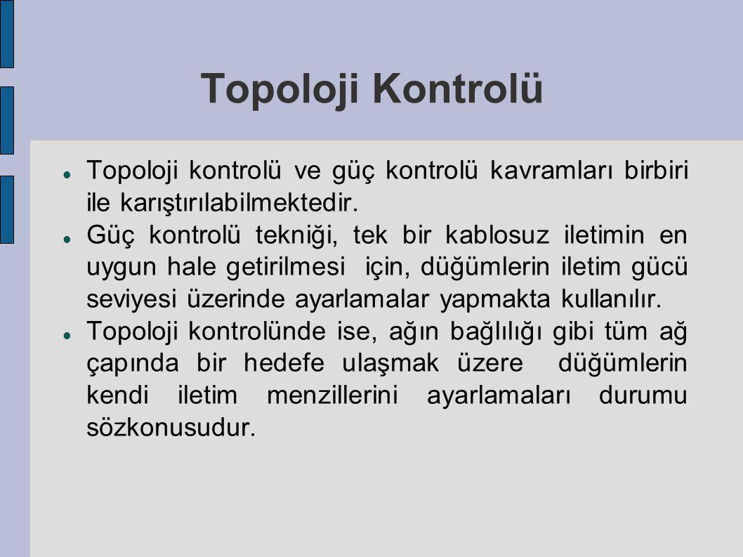 Topoloji Kontrolü Topoloji kontrolü ve güç kontrolü kavramları birbiri ile karıştırılabilmektedir.