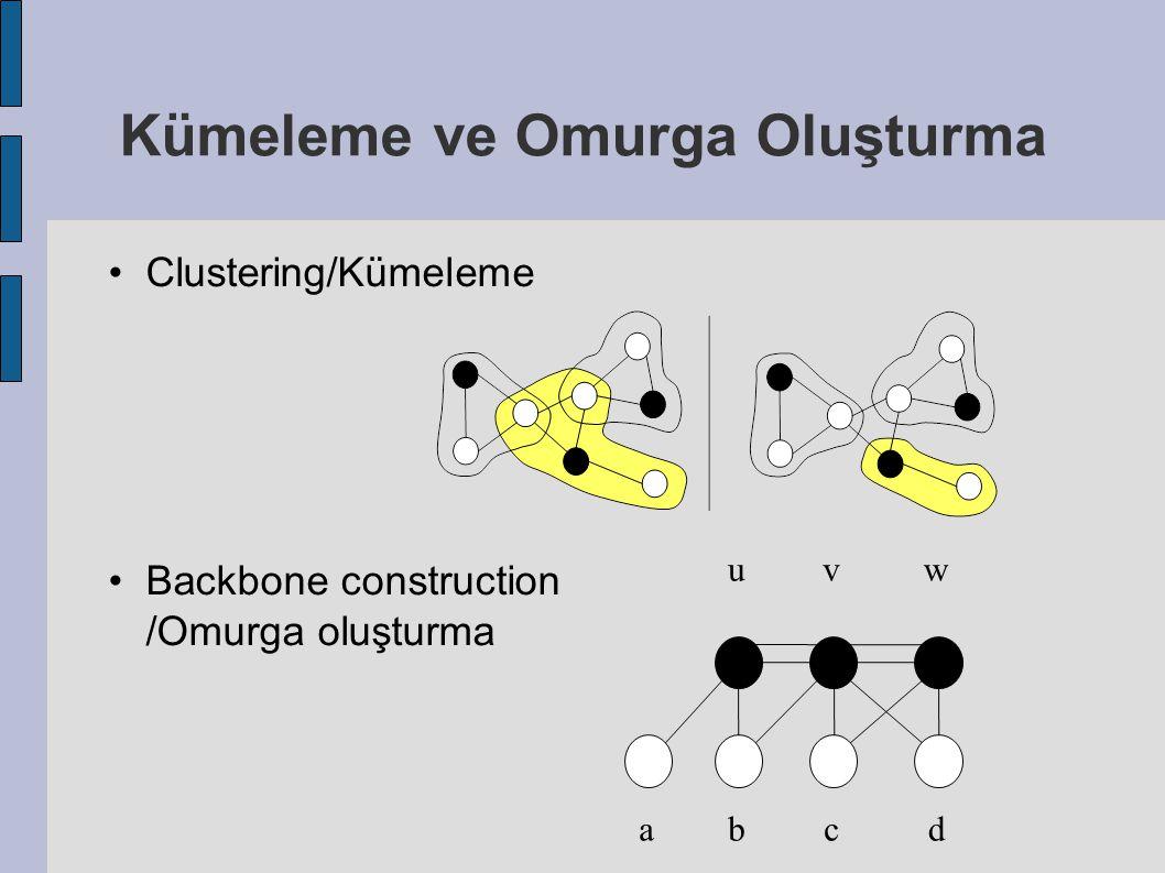 Kümeleme ve Omurga Oluşturma Clustering/Kümeleme Backbone construction /Omurga oluşturma uv w abcd
