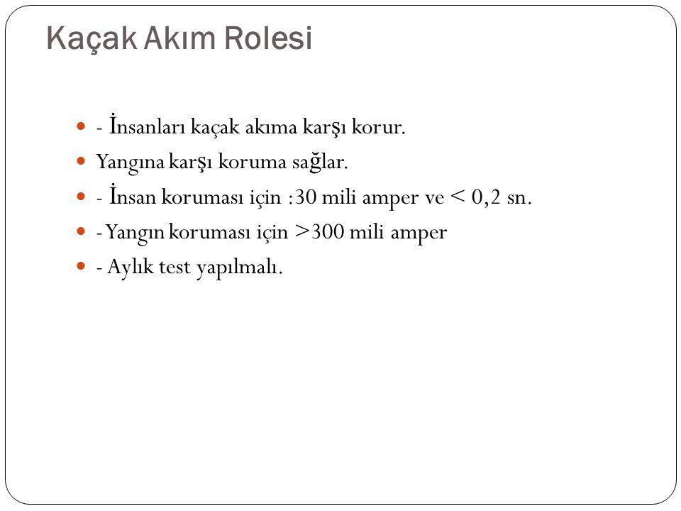 Kaçak Akım Rolesi - İ nsanları kaçak akıma kar ş ı korur.