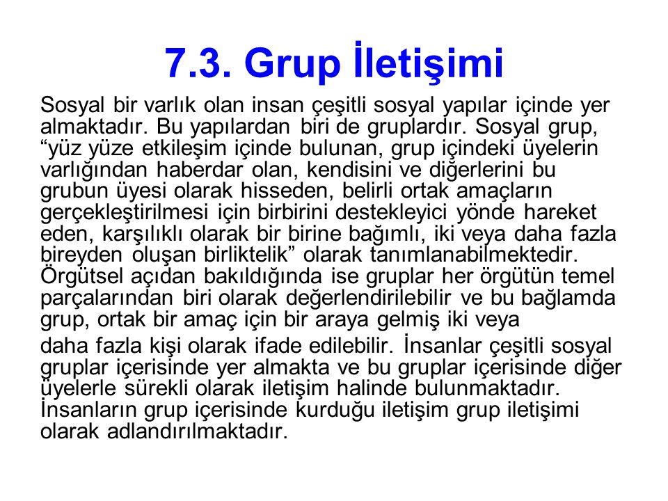 """7.3. Grup İletişimi Sosyal bir varlık olan insan çeşitli sosyal yapılar içinde yer almaktadır. Bu yapılardan biri de gruplardır. Sosyal grup, """"yüz yüz"""