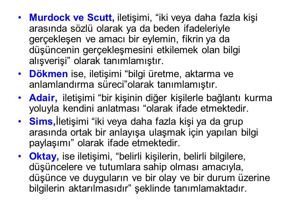 """Murdock ve Scutt, iletişimi, """"iki veya daha fazla kişi arasında sözlü olarak ya da beden ifadeleriyle gerçekleşen ve amacı bir eylemin, fikrin ya da d"""