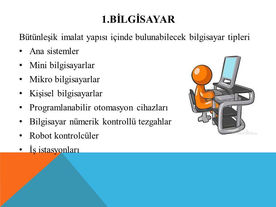 1.BİLGİSAYAR Bütünleşik imalat yapısı içinde bulunabilecek bilgisayar tipleri Ana sistemler Mini bilgisayarlar Mikro bilgisayarlar Kişisel bilgisayarl