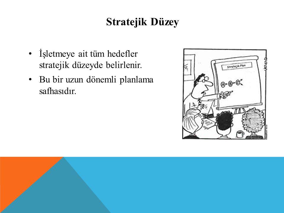 Stratejik Düzey İşletmeye ait tüm hedefler stratejik düzeyde belirlenir. Bu bir uzun dönemli planlama safhasıdır.