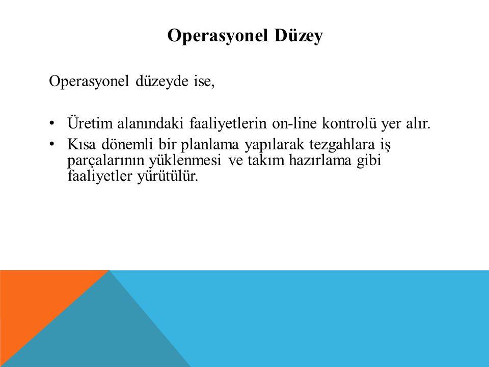 Operasyonel Düzey Operasyonel düzeyde ise, Üretim alanındaki faaliyetlerin on-line kontrolü yer alır. Kısa dönemli bir planlama yapılarak tezgahlara i