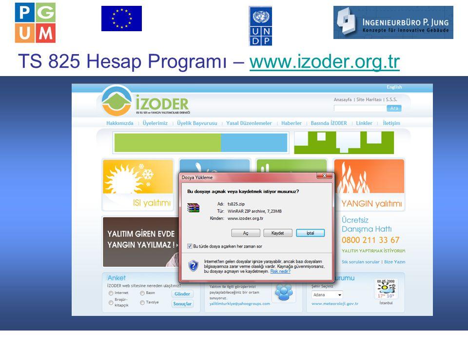 15 TS 825 Hesap Programı – www.izoder.org.trwww.izoder.org.tr