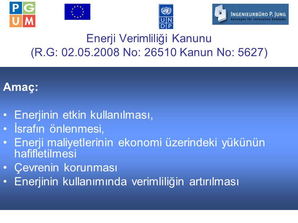 16 Enerji Verimliliği Kanunu (R.G: 02.05.2008 No: 26510 Kanun No: 5627) Amaç: Enerjinin etkin kullanılması, İsrafın önlenmesi, Enerji maliyetlerinin ekonomi üzerindeki yükünün hafifletilmesi Çevrenin korunması Enerjinin kullanımında verimliliğin artırılması