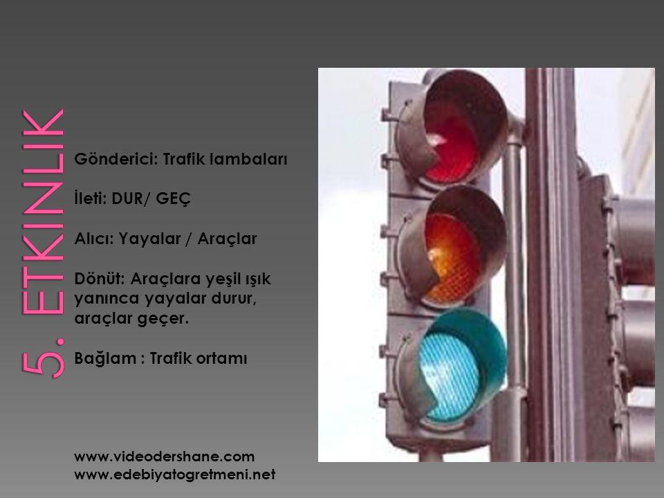 Gönderici: Trafik lambaları İleti: DUR/ GEÇ Alıcı: Yayalar / Araçlar Dönüt: Araçlara yeşil ışık yanınca yayalar durur, araçlar geçer. Bağlam : Trafik