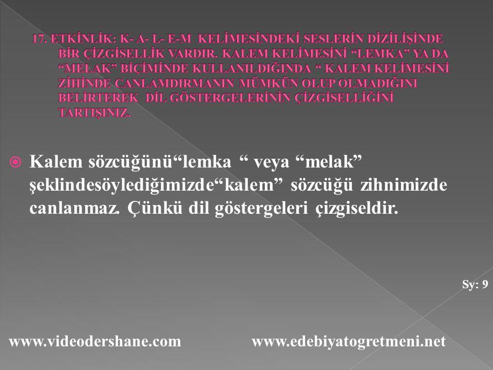 """ Kalem sözcüğünü""""lemka """" veya """"melak"""" şeklindesöylediğimizde""""kalem"""" sözcüğü zihnimizde canlanmaz. Çünkü dil göstergeleri çizgiseldir. Sy: 9 www.video"""