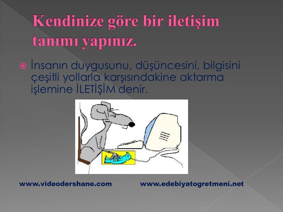  İnsanın duygusunu, düşüncesini, bilgisini çeşitli yollarla karşısındakine aktarma işlemine İLETİŞİM denir. www.videodershane.com www.edebiyatogretme