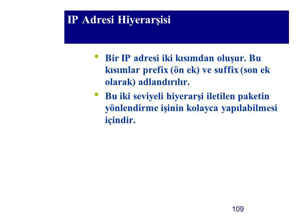 109 IP Adresi Hiyerarşisi Bir IP adresi iki kısımdan oluşur. Bu kısımlar prefix (ön ek) ve suffix (son ek olarak) adlandırılır. Bu iki seviyeli hiyera