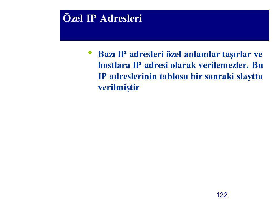 122 Özel IP Adresleri Bazı IP adresleri özel anlamlar taşırlar ve hostlara IP adresi olarak verilemezler. Bu IP adreslerinin tablosu bir sonraki slayt