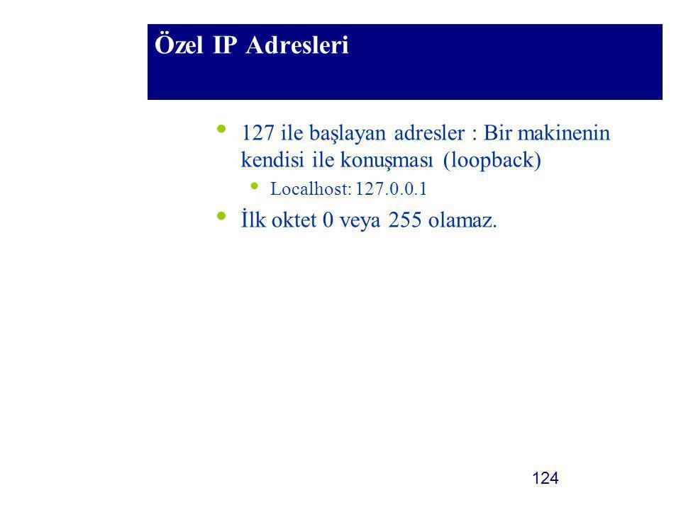 124 Özel IP Adresleri 127 ile başlayan adresler : Bir makinenin kendisi ile konuşması (loopback) Localhost: 127.0.0.1 İlk oktet 0 veya 255 olamaz.