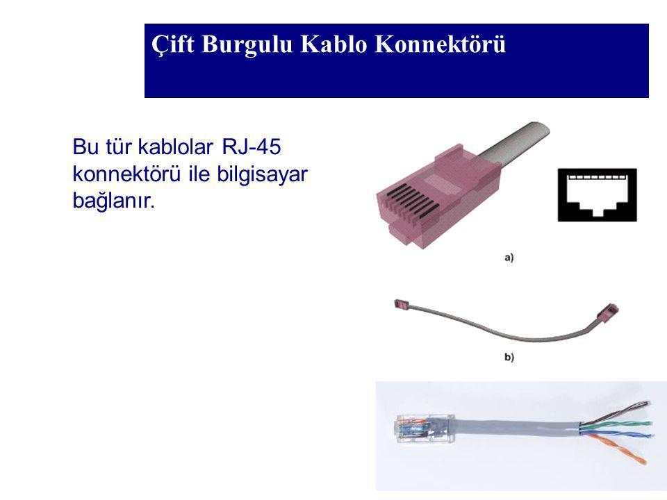 Çift Burgulu Kablo Konnektörü Bu tür kablolar RJ-45 konnektörü ile bilgisayar bağlanır.