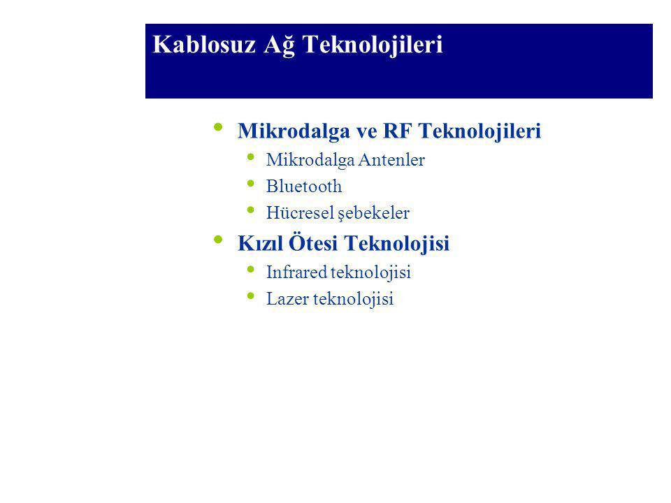 Kablosuz Ağ Teknolojileri Mikrodalga ve RF Teknolojileri Mikrodalga Antenler Bluetooth Hücresel şebekeler Kızıl Ötesi Teknolojisi Infrared teknolojisi