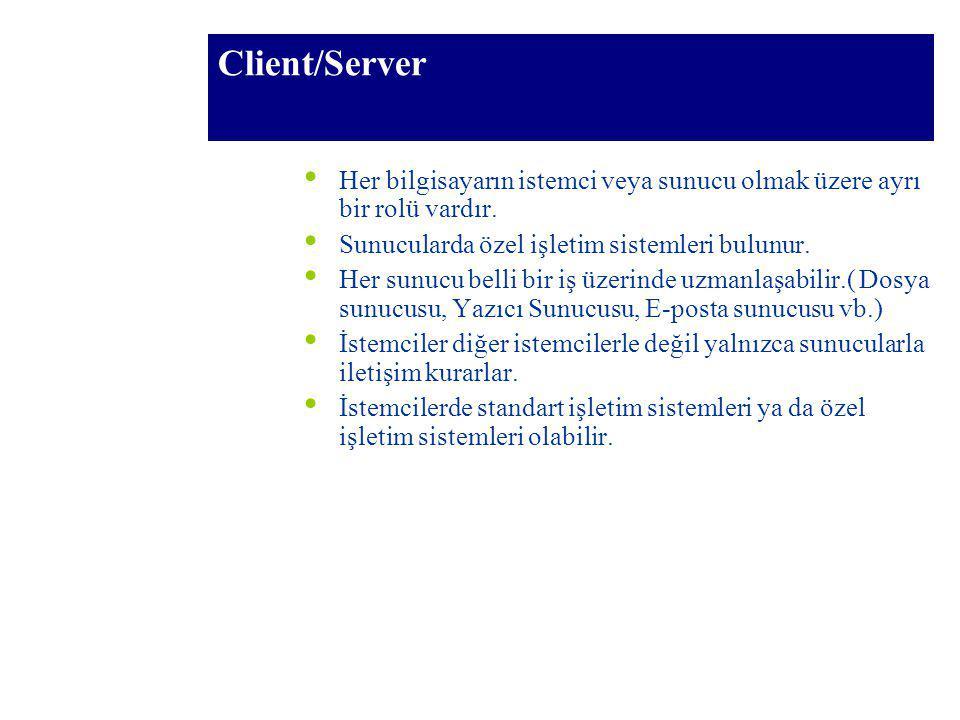 Client/Server Her bilgisayarın istemci veya sunucu olmak üzere ayrı bir rolü vardır. Sunucularda özel işletim sistemleri bulunur. Her sunucu belli bir