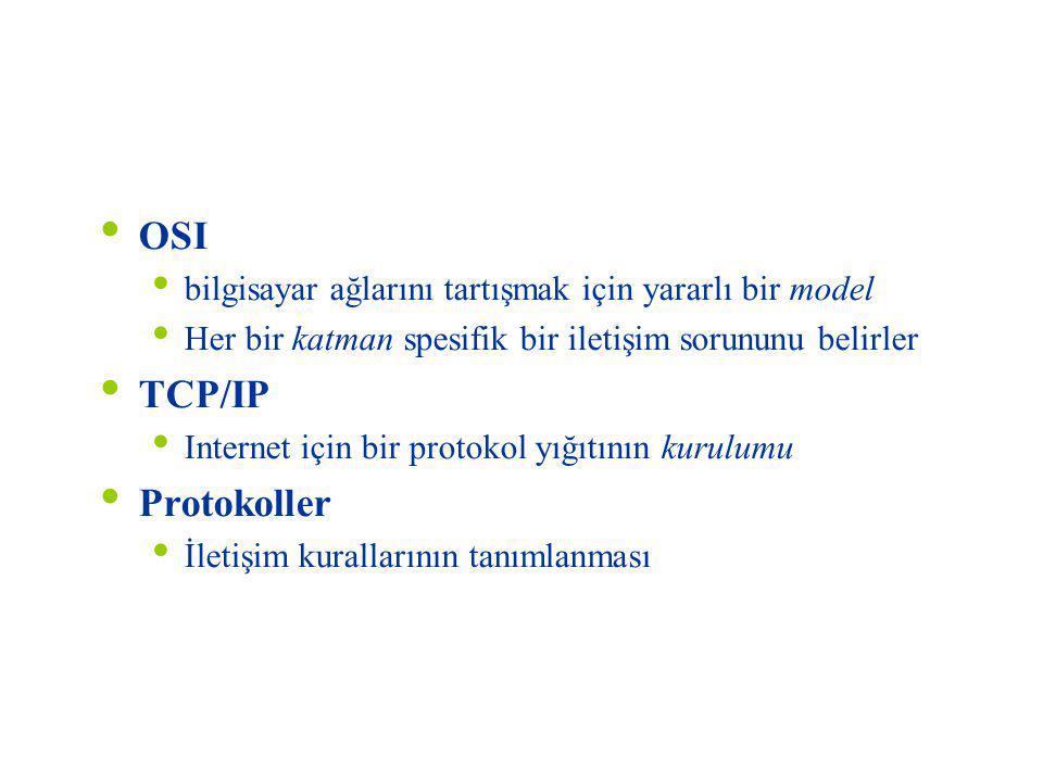 Özet OSI bilgisayar ağlarını tartışmak için yararlı bir model Her bir katman spesifik bir iletişim sorununu belirler TCP/IP Internet için bir protokol